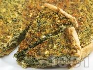 Рецепта Солен киш с плънка от гъби, спанак, яйца, сирене, пресен лук и сметана